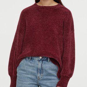 H&M Burgundy Chenille Oversized Sweater Cropped Cozy Winter  Lounge Loungewear